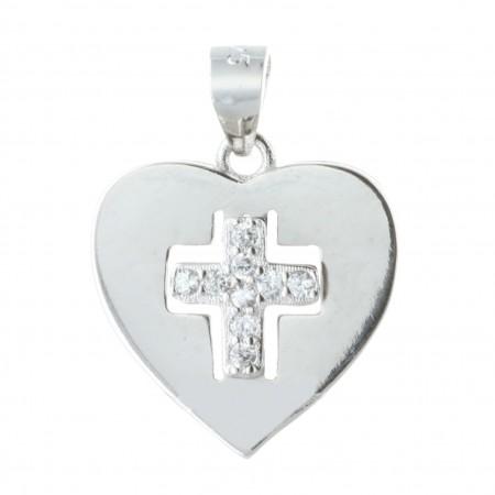 Médaille Argent en forme de coeur avec une croix en strass