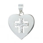 Silver heart-shaped medallion with a rhinestone cross