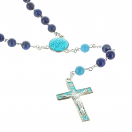 Lourdes silver rosary with lapis lazuli  and Turquoise stones