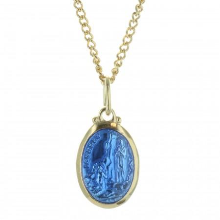 Golden set Lourdes medallion and a 50cm chain