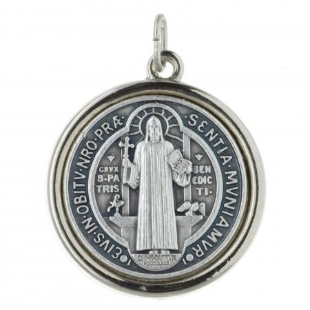 Médaille de Saint Benoît en métal argenté 2cm