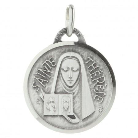 Medaglia di Santa Teresa di Lisieux metallo argentato