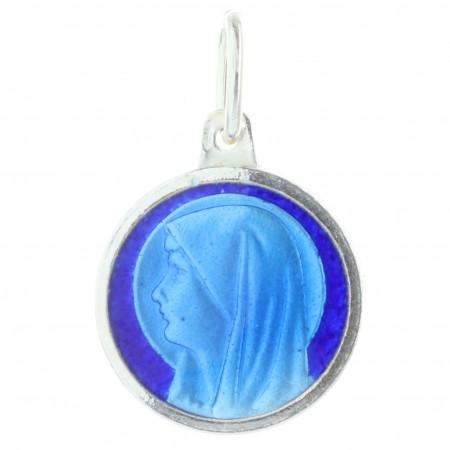 Médaille Argent de la Vierge Marie émaillée bleue