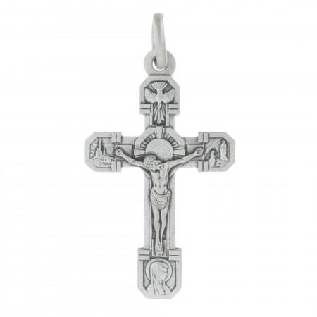 Ciondolo croce di Lourdes di metallo argentato 6,5cm