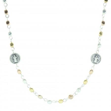 Collana di San Benedetto con perle di metallo