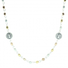 Saint Benedict necklace with metal pearls
