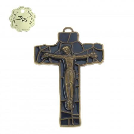 Crucifix métal finitions Bronze émaillé bleu foncé 8cm