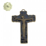 Crucifix Bronze finish,dark blue enamelled 8cm