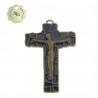 Crucifix Bronze finish,dark blue enamelled 8cm