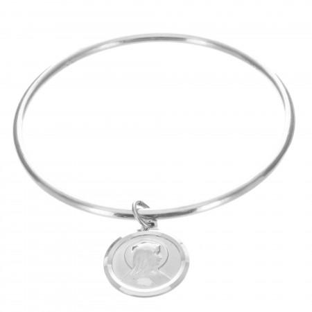 Lourdes Silver bangle bracelet with medallion