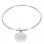 Lourdes Silver bangle bracelet with medallion