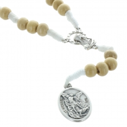 Cord rosary wood beads and Saint Michael medallion