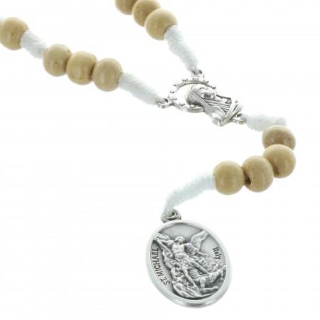 Rosario corda perline di legno e medaglia San Michele