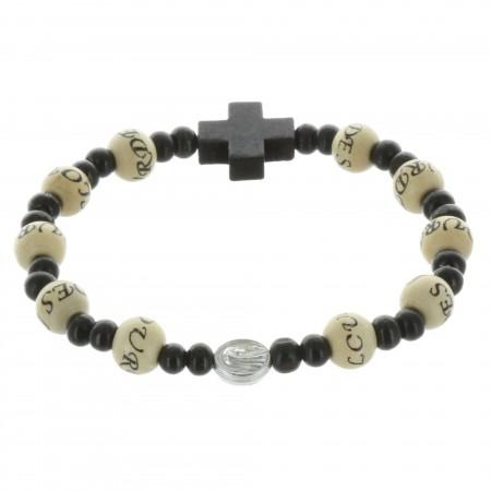 Bracelet dizainier avec l'inscription Lourdes sur perles de bois