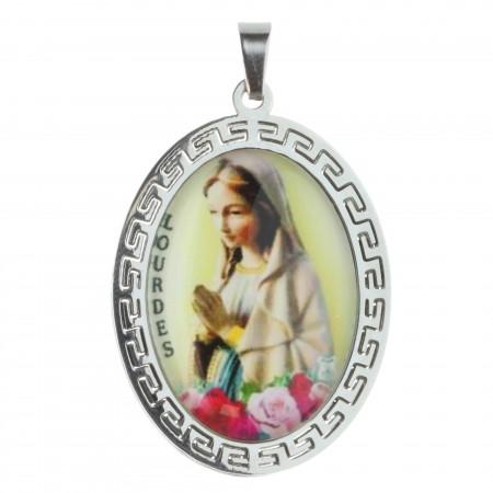 Médaille de la Vierge Marie de Lourdes en acier