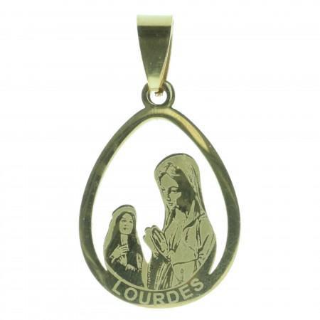 Médaille Apparition de Lourdes en acier doré