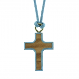 Colored lace necklace with a wooden cross