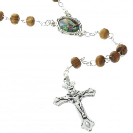 Chapelet de Lourdes en bois d'olivier et sa boîte en bois d'olivier