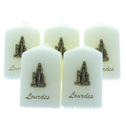Pack of 5 religious candles of Lourdes