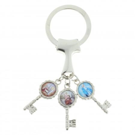 Porte-clés avec une croix de Tau et trois clés avec des images religieuses