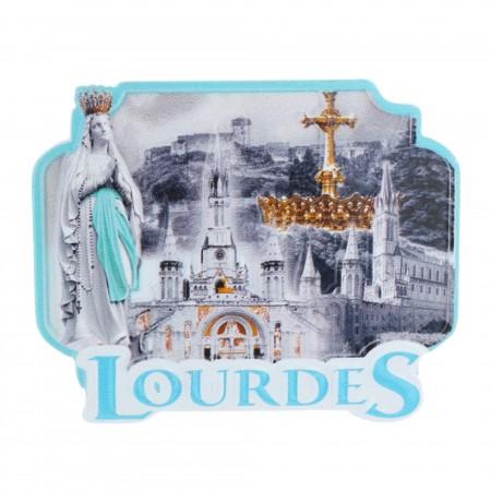 Magnet de Lourdes coloré en relief