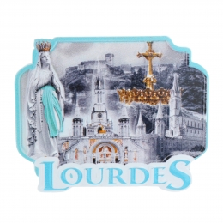Magnet di Lourdes colorato in rilievo