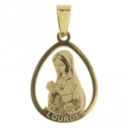 Medaglia della Madonna di Lourdes di acciaio tono oro