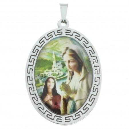 Medaglia dell'Apparizione di Lourdes di acciaio tono oro