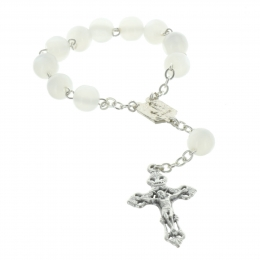 Lourdes one decade rosary with iridescent white beads