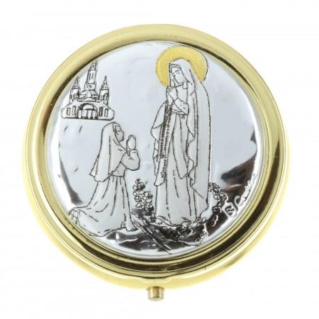 Custode à hosties avec la Vierge Marie de Lourdes 4,5 x 4,5cm