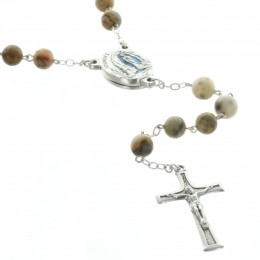Lourdes rosary with Agate stone beads and Lourdes water centerpiece
