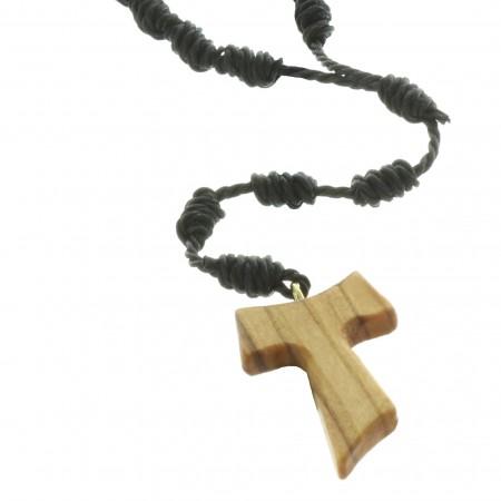 Rosario di corda con una croce TAU di legno