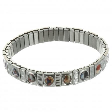 Bracelet religieux en métal extensible avec des images d'icônes religieuses