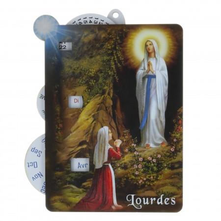 Calendrier de Lourdes perpétuel en bois