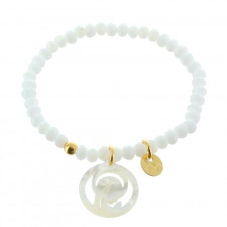 Bracelet de Communion en cristal avec un pendentif de la Vierge Marie en Nacre