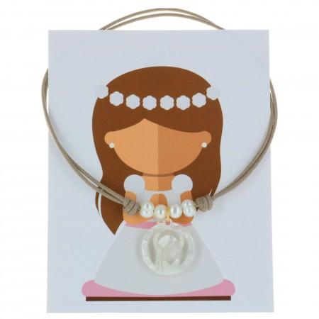 Collier de Communion avec une médaille de la Vierge Marie en Nacre