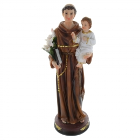 Statue de Saint Antoine en résine colorée 30cm