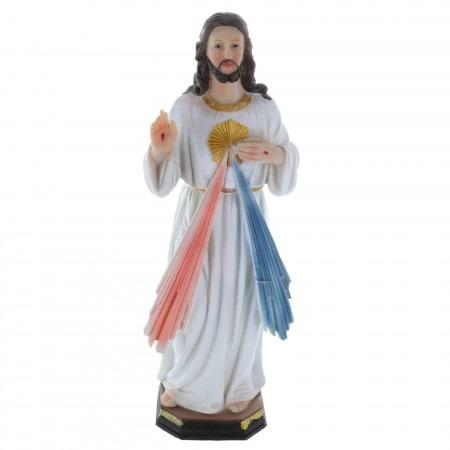 Statue de Jésus Miséricordieux en résine colorée 30cm
