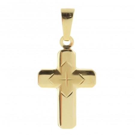 Pendentif croix en Or 18 carats, bords arrondis