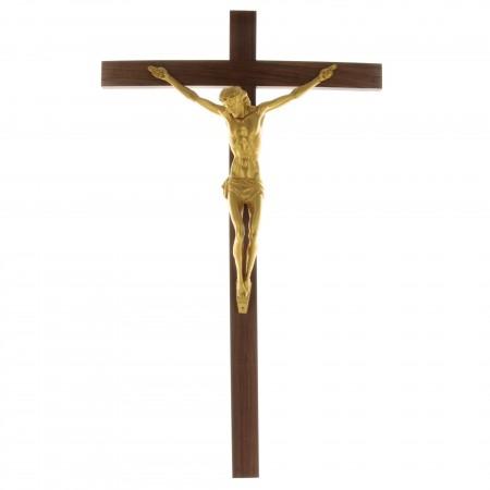 Crucifix en bois avec le Christ doré 45cm