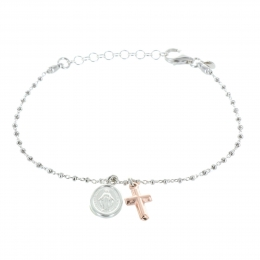 Our Lady of Grace silver bracelet with a cross pendant