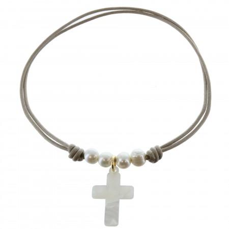 Collier de Communion avec un pendentif croix en Nacre