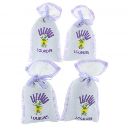 Lot de 4 sachets de Lavande brodés Lourdes