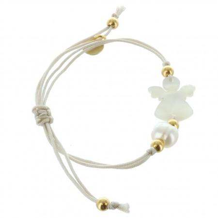 Bracelet de Communion en corde avec un Ange en Nacre