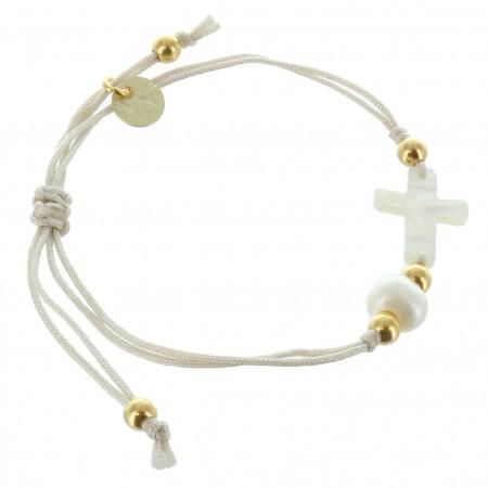Bracelet de Communion en corde avec une croix en Nacre