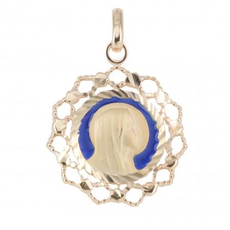 Médaille de la Vierge Marie en Plaqué Or 18 carats, contours dentelés et fond bleu 2cm