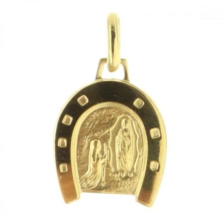 Médaille de Lourdes en Plaqué Or en forme de Fer à cheval