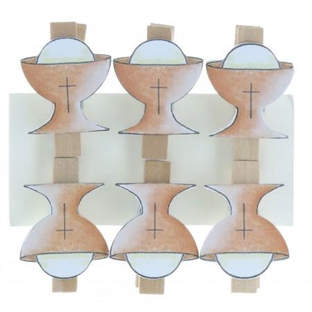 Lot de 6 pinces de Communion en bois avec un Calice