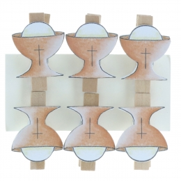 Set of 6 wooden Communion clips with a Chalice