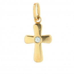 9 carats gold Pendant Cross with zircons